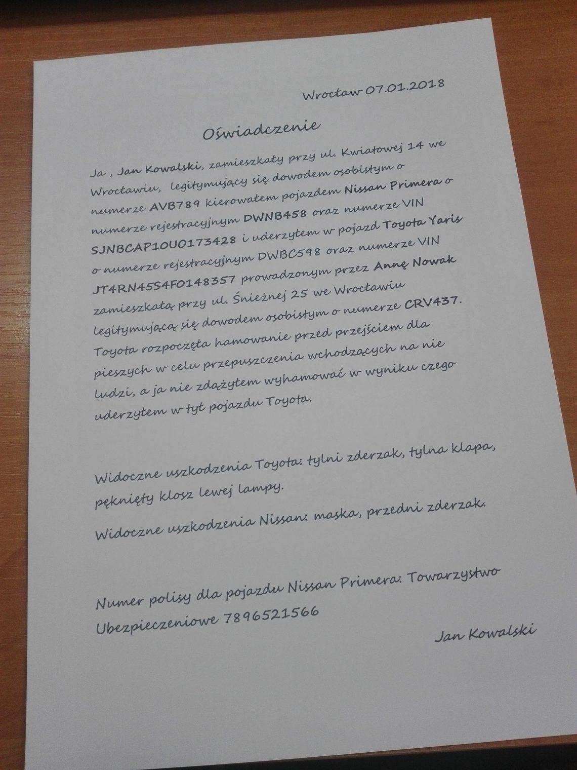 Oświadczenie sprawcyq
